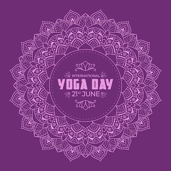 Yoga internationale dag met violet kalm ontwerp