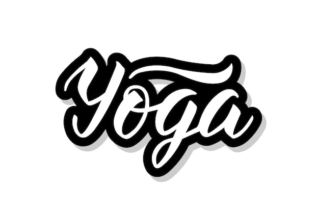 Yoga kalligrafie tekst geïsoleerd op wit
