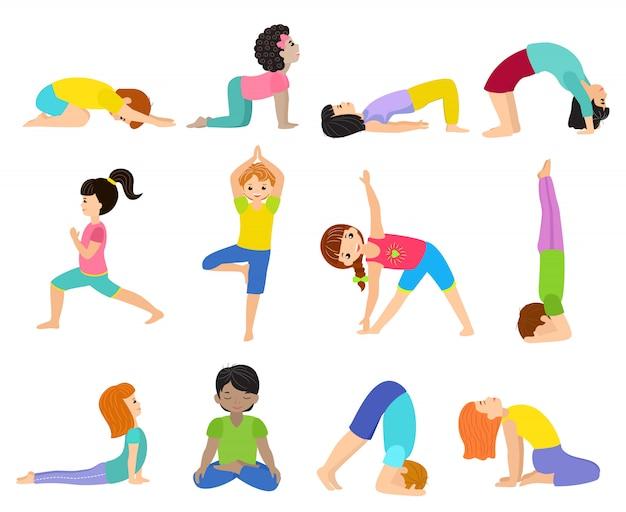 Yoga kinderen jong kind yogi karakter training sport oefening illustratie gezonde levensstijl set cartoon jongens en meisjes wellness-activiteit van stretching meditatie geïsoleerd op witte achtergrond