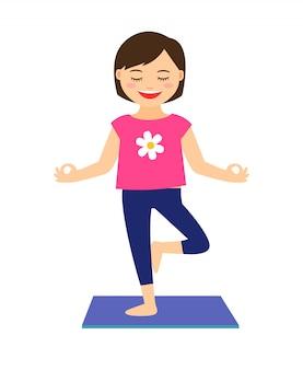Yoga kinderen vector illustratie. het jonge meisje in yoga stelt geïsoleerd