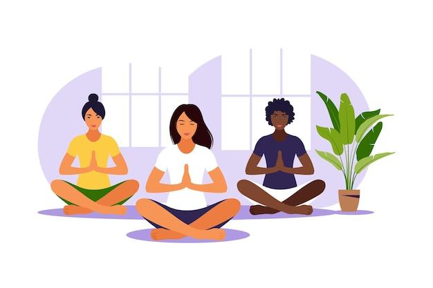 Yoga klas. meditatie. groepstraining. vlakke afbeelding. vector.