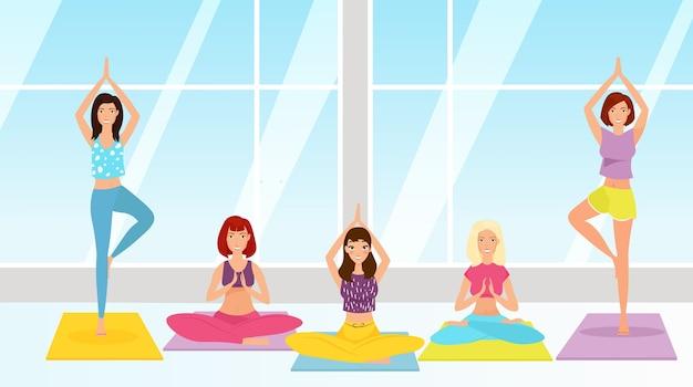Yoga klasse illustratie meisjes zitten in lotus houding beoefenen van asana's meditatie