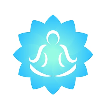 Yoga-logo-element, overzicht van man die meditatie doet over lotusbloem