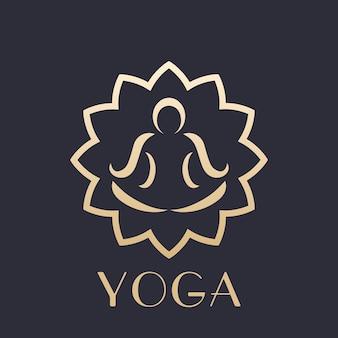 Yoga-logo-element, overzicht van man in lotuspositie die meditatie doet, goud op donker