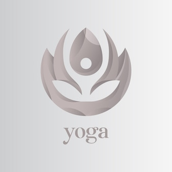Yoga-logo, lotus met mensen die yoga-logo doen voor een gezond bedrijf