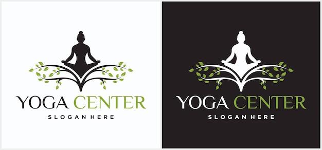 Yoga-logo-ontwerp. menselijke meditatie in een boom vectorillustratie. ontwerpsjabloon voor yoga-logo. cosmetische icoon en spa-logo. yoga pose vector natuurlijk yoga meditatie logo