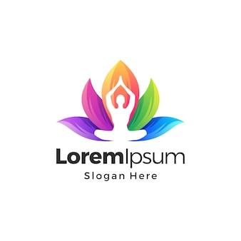 Yoga lotus kleurrijke gradiënt logo premium vector