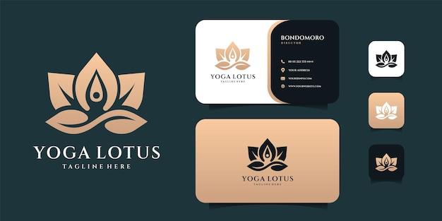Yoga lotus logo en visitekaartje ontwerp inspiratie.