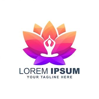 Yoga lotusbloem kleurrijke logo