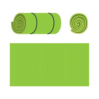 Yoga matten cartoon set geïsoleerd op een witte achtergrond.