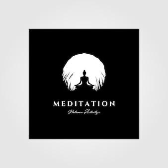 Yoga meditatie logo maan achtergrond illustratie ontwerp, vintage logo-stijl