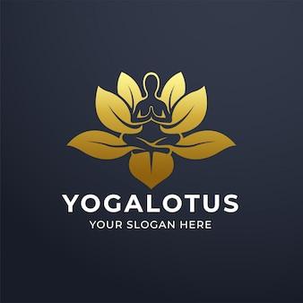Yoga meditatie met lotusbloem logo ontwerp