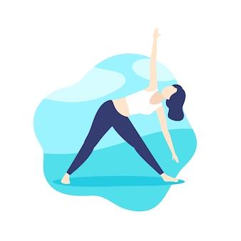 Yoga, meisje in driehoek vormen in park