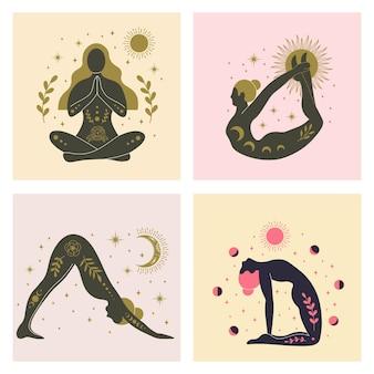 Yoga meisjes verschillende asana's, vrouwen met zon, maan en bloemen abstracte elementen. yoga mediteren en concentratie, geduld oefenen, asana aura positioneren, vectorillustratie
