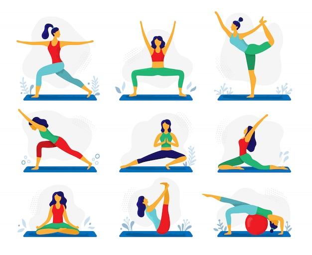 Yoga oefening. fitness therapie, gezonde stretch yoga houdingen en vrouw behandeling rekoefeningen platte illustratie set