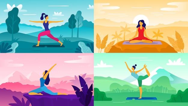 Yoga oefening op de natuur. ontspan buitenshuis oefeningen, gezondheidszorg fitness en een gezonde levensstijl. yoga vormt vlakke afbeelding set