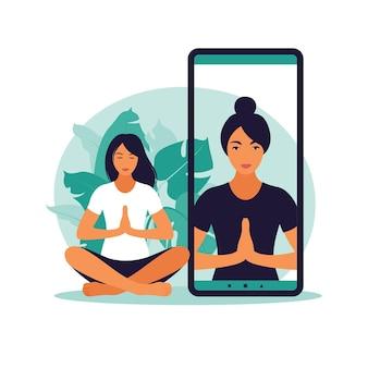 Yoga online concept met gezonde vrouw die thuis yogaoefening doet met online instructeur. wellness en gezonde levensstijl thuis. vrouw doet yoga-oefeningen. vector illustratie. Premium Vector