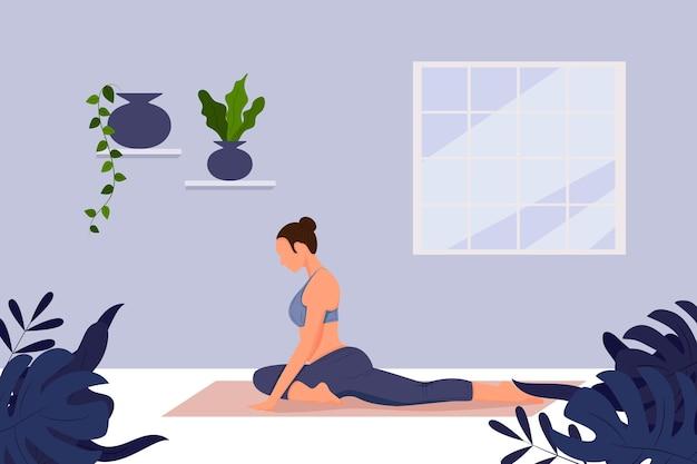 Yoga online concept yoga pose meisje doet fysieke oefeningen en kijkt naar online lessen op laptop online yoga met instructeur thuis webbanner landing vlakke afbeelding