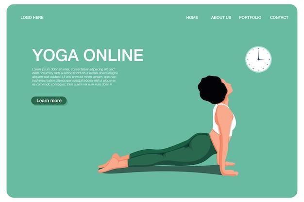 Yoga online concept yoga pose meisje doet fysieke oefeningen en kijkt naar online lessen