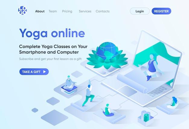 Yoga online isometrische bestemmingspagina. afstandstraining met instructeur, thuis oefenen en mediteren. sjabloon voor online yogacursussen voor cms en website. isometriescène met personages.