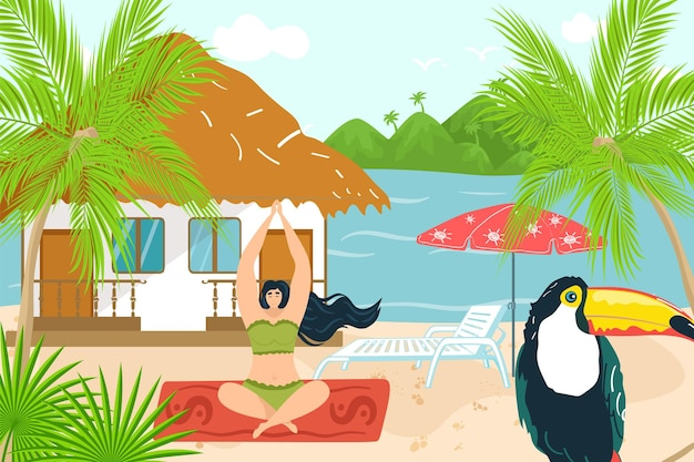 Yoga ontspannen in de tropische zomer, vectorillustratie. platte meisjeskarakterlevensstijl, jonge vrouwenmeditatie voor lichaamsontspanning, openluchtvakantie op zee. gelukkige persoon zit in de buurt van strandhuis, tropische vogel.