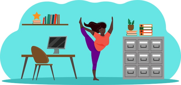 Yoga op kantoor, bochtige zwarte vrouw doet oefeningen tijdens een pauze op het werk