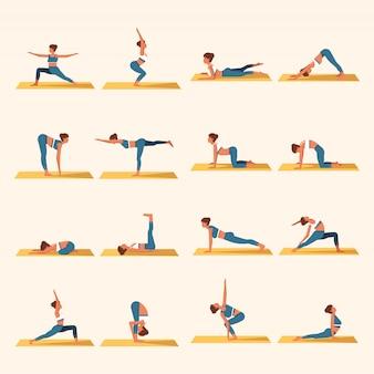 Yoga platte vector sjabloon