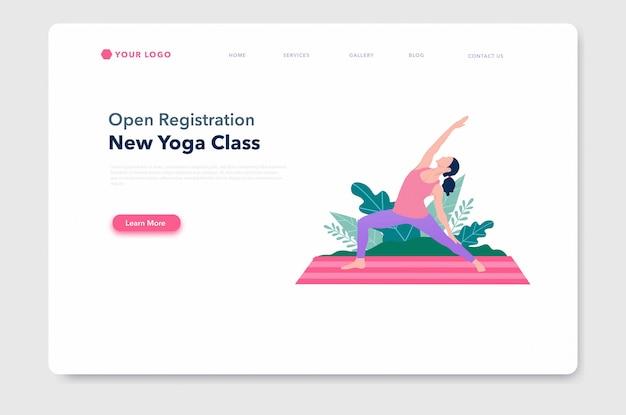 Yoga pose bestemmingspagina sjabloon