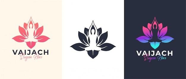 Yoga pose met lotusbloem logo-ontwerp