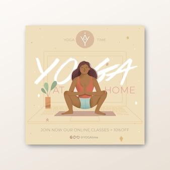 Yoga praktijk kwadraat folder sjabloon Premium Vector