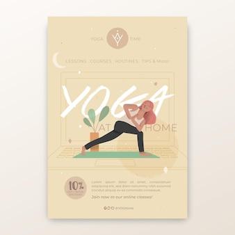 Yoga praktijk verticale flyer-sjabloon Premium Vector