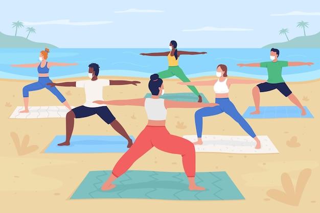 Yoga retraite tijdens pandemische egale kleurenillustratiekarakters met oceaanstrand op achtergrond