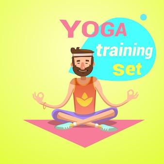 Yoga retro cartoon met gelukkig man in lotus pose vectorillustratie
