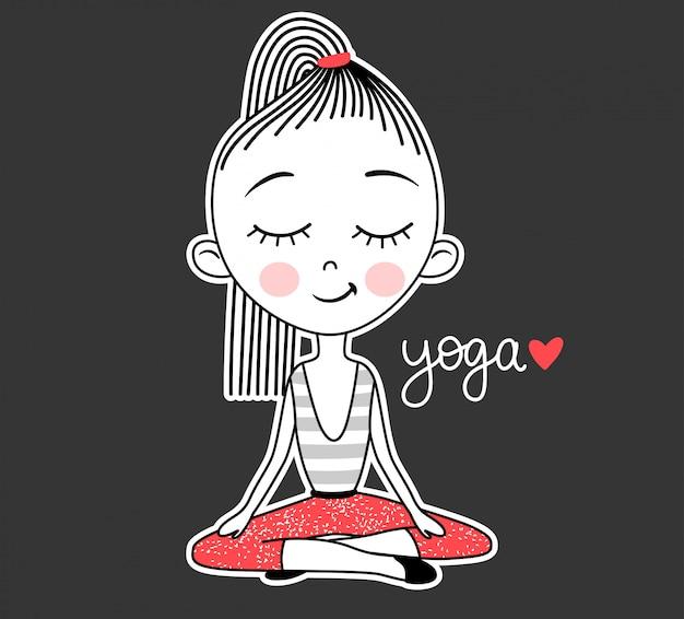 Yoga-schattig meisje beoefenen van yoga in de lotuspositie en inscriptie belettering.