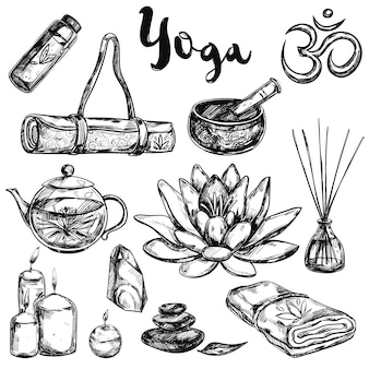 Yoga schets icon set