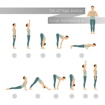 Yoga set in vlakke stijl. surya namaskar a. zonnegroet complex. ashtanga vinyasa yoga.
