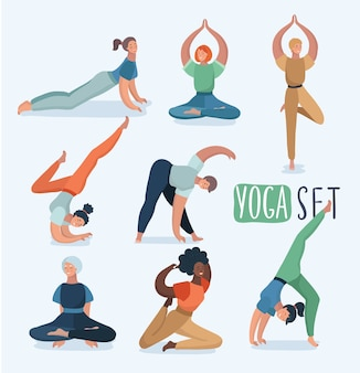Yoga set met vrouwen in verschillende poses. illustratie in modern concept van yoga-oefeningen. ander vrouwelijk karakter.