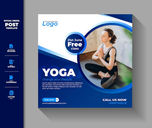Yoga social media post instagram-banner