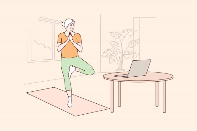 Yoga, sport, quarantaine, training, onderwijsconcept