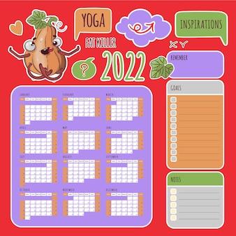 Yoga stickers kalender 2022 jaar sporting pompoen schema en collectie labels van design elements