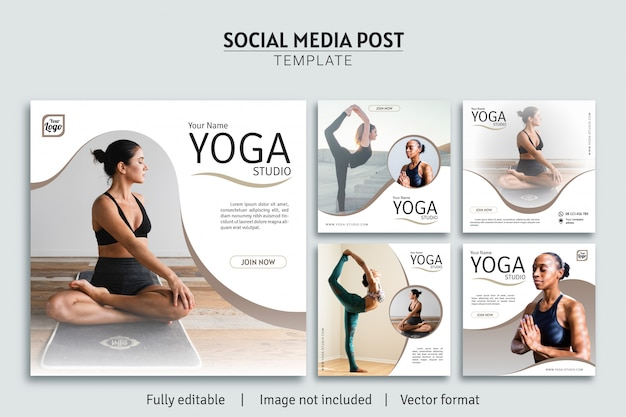 Yoga studio social media post sjabloon ontwerp premium collectie