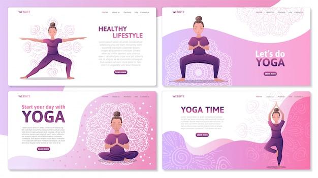 Yoga studio website sjablonen set, bestemmingspagina. jonge vrouwen in verschillende yogahoudingen, meditatie en asana's. yoga center website voor oefeningen. vlakke afbeelding