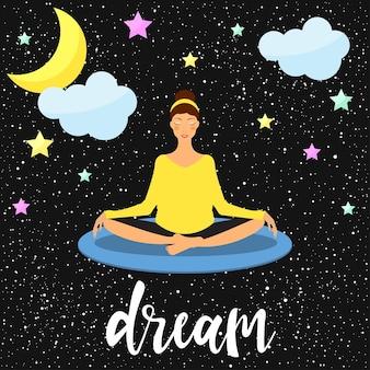 Yoga thema. handgeschreven letters en tekenfilmmeisje die lotushouding beoefenen. afbeelding voor ontwerpt-shirt, yogakaart, uitnodiging, sportbrochures, plakboek, album, schetsboekomslag