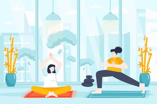 Yoga thuis concept in platte ontwerp illustratie van mensen karakters voor bestemmingspagina