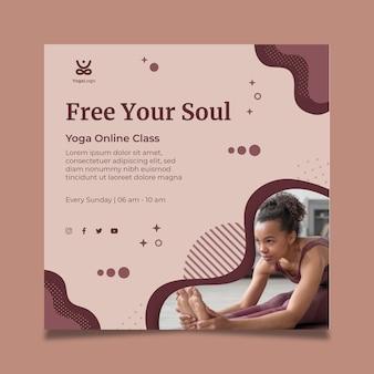 Yoga thuis vierkante sjabloon folder