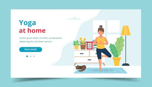 Yoga thuis. vrouw die yoga in gezellig modern binnenland doet.