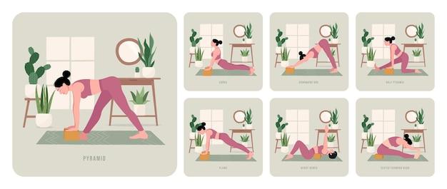Yoga trainingsset jonge vrouw die yogahoudingen beoefent