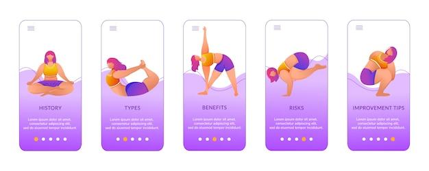 Yoga voordelen onboarding mobiele app-schermsjabloon. oefeningen en houdingen. bodypositive vrouw. walkthrough website stappen met karakters.