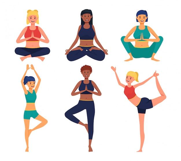 Yoga vormt cartoon. glimlachend meisjeskarakter die oefeningen doen.