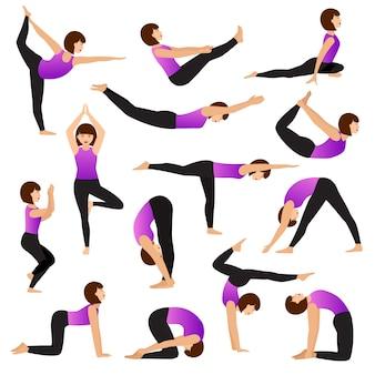 Yoga vrouw jonge vrouwen yogi karakter opleiding flexibele oefening vormen illustratie vrouwelijke set van gezonde meisjes levensstijl training met meditatie balans ontspanning geïsoleerd op een witte achtergrond